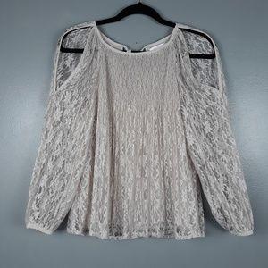 Lauren Conrad light gray lace cold shoulder XS